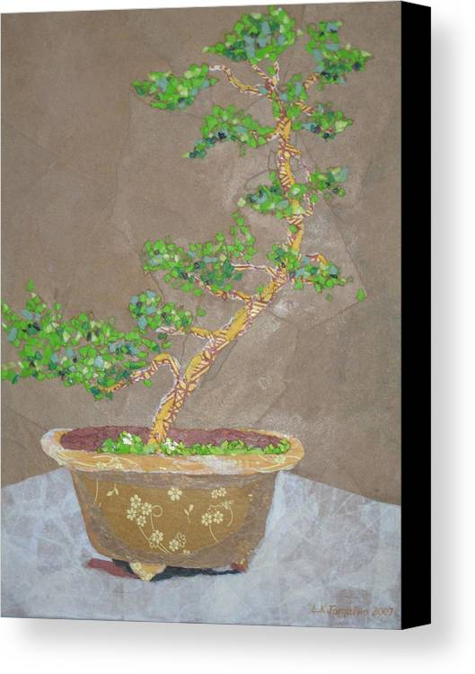 Banzai Tree Canvas Print featuring the painting Windswept Juniper by Leah Tomaino