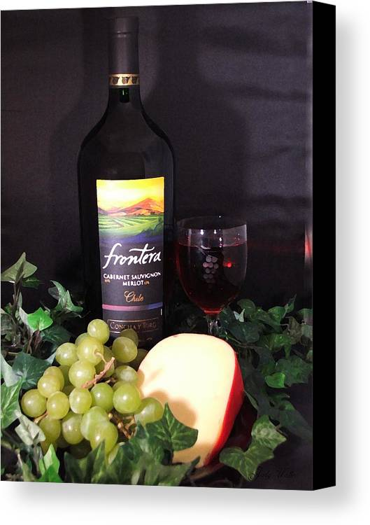 Wine Canvas Print featuring the photograph Wine With Cheese by Judy Waller