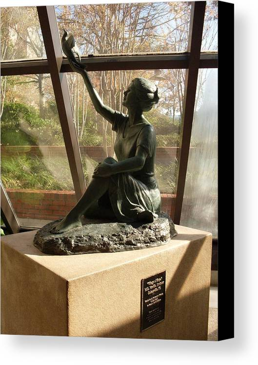 Sculpture Canvas Print featuring the photograph Wings Of Hope And Shadows by Warren Thompson