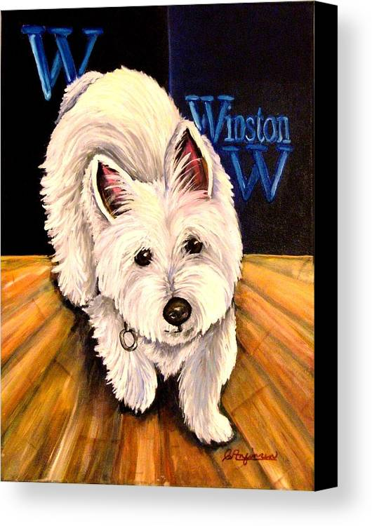 Dog Westie West Highland Terrior Animals Furry Dogs Dog Portraits Canvas Print featuring the painting Winston by Carol Allen Anfinsen