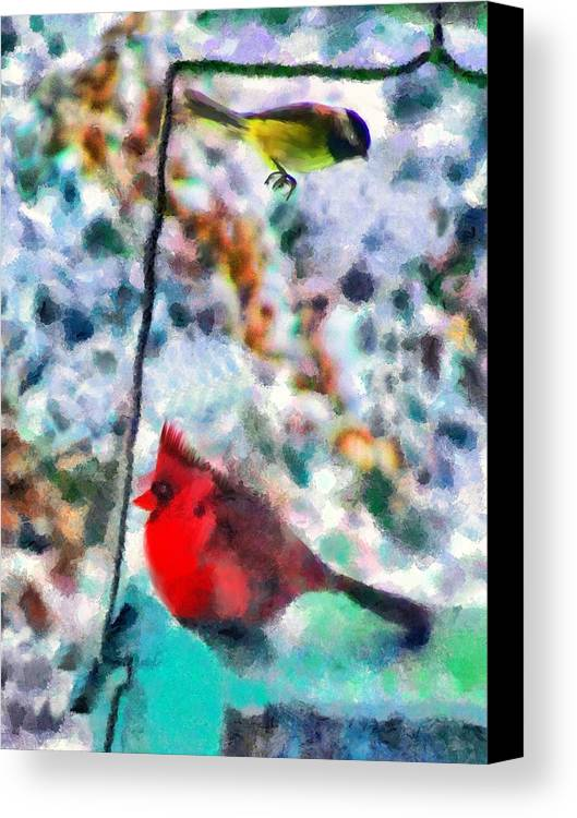 Birds Canvas Print featuring the mixed media Winter Meals by Marilyn Sholin