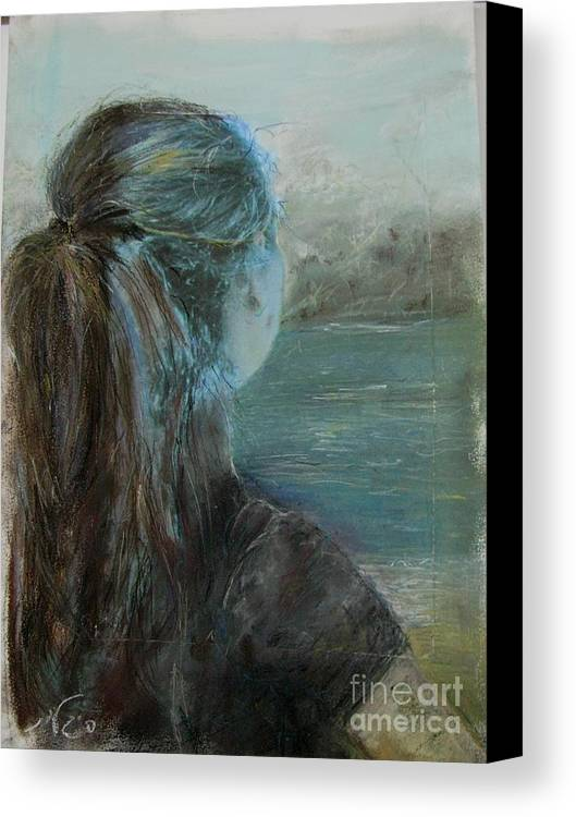 Painting Canvas Print featuring the painting Woman At Bay by Sigalit Aharoni