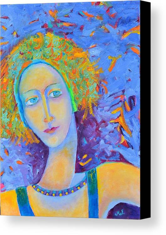 Woman Portrait Canvas Print featuring the painting Woman Oil Portrait by Magdalena Walulik