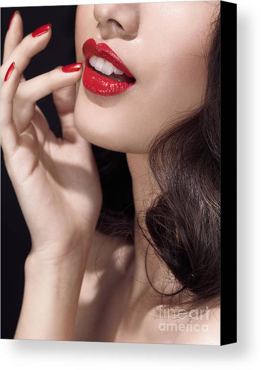 Lips Canvas Print featuring the photograph Woman With Red Lipstick Closeup Of Sensual Mouth by Oleksiy Maksymenko