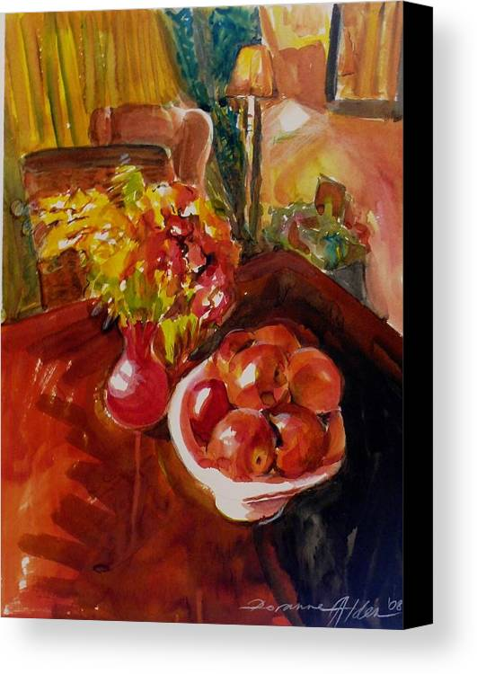 Interior Canvas Print featuring the painting Women's Day Bouquet by Doranne Alden