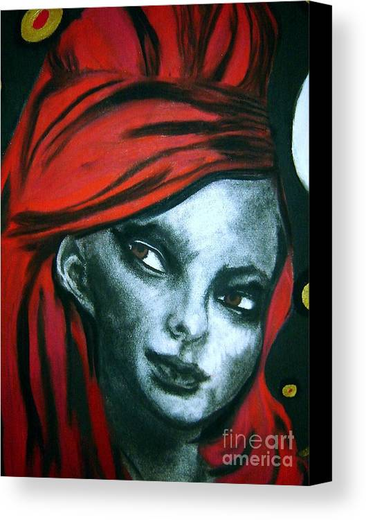 Angel Canvas Print featuring the drawing Wonderland Girls - Red Head Close Up by Chrissa Arazny- Nordquist