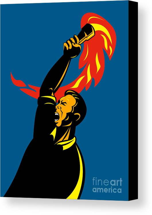 Illustration Canvas Print featuring the digital art Worker With Torch by Aloysius Patrimonio