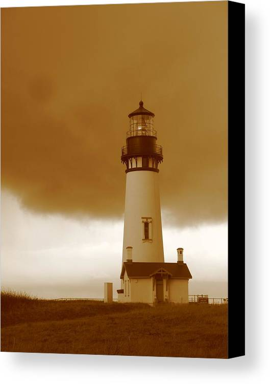 Lighthouse Canvas Print featuring the photograph Yaquina Head Lighthouse Sepia by Juli House