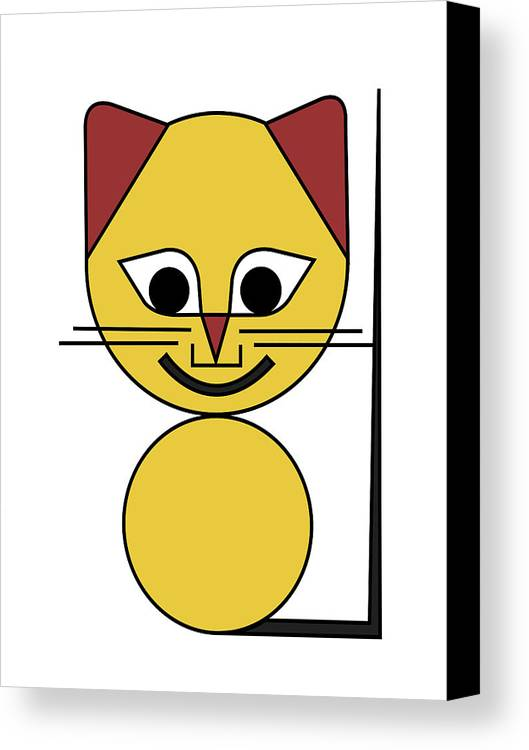 Cat Canvas Print featuring the digital art Yellow Cat by Asbjorn Lonvig