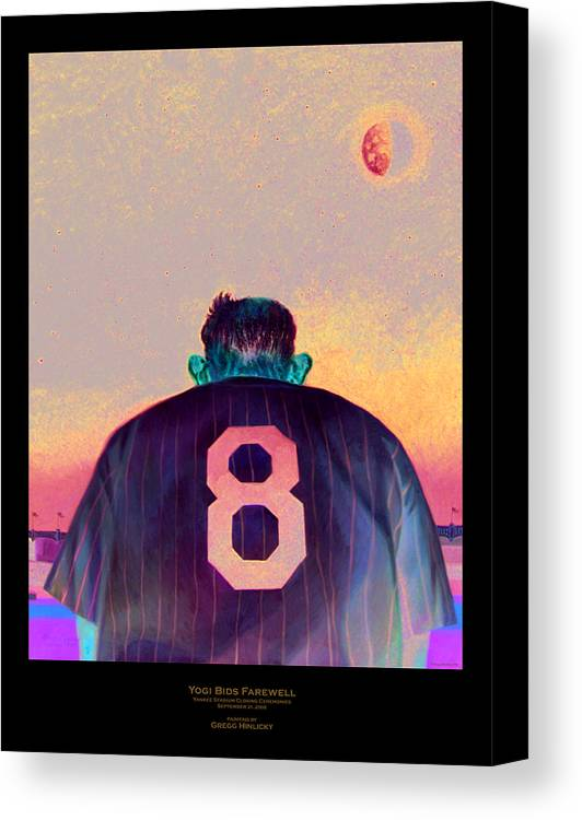 Baseball Canvas Print featuring the painting Yogi Bids Farewell by Gregg Hinlicky