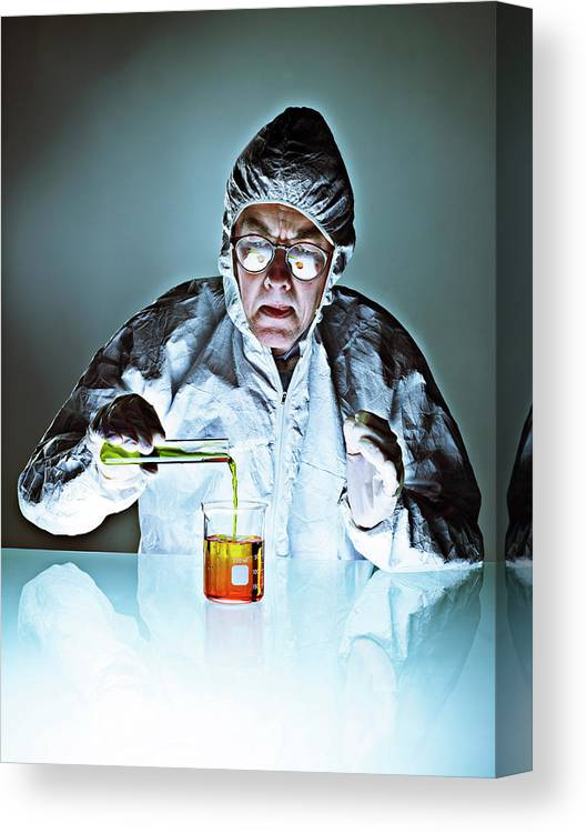 Protective Suit Canvas Print featuring the photograph Chemistry by Coneyl Jay/science Photo Library