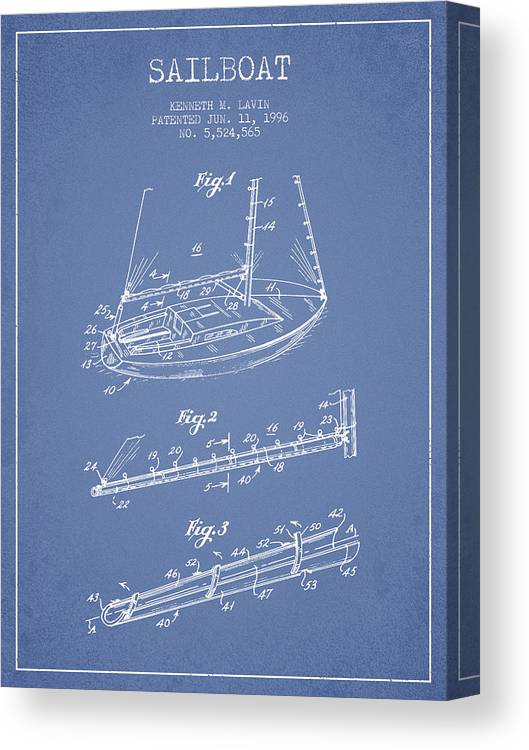 Sailboat Canvas Print featuring the digital art Sailboat Patent From 1996 - Vintage by Aged Pixel