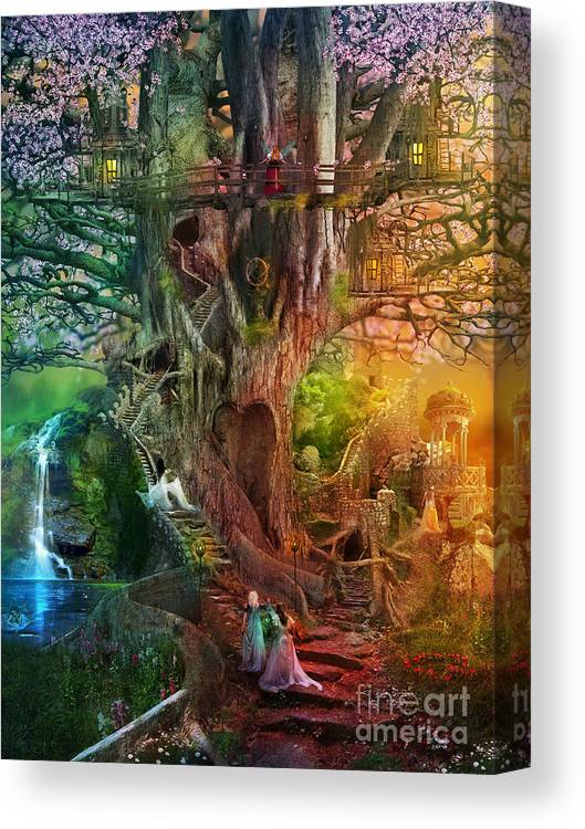 Aimee Stewart Canvas Print featuring the digital art The Dreaming Tree by MGL Meiklejohn Graphics Licensing