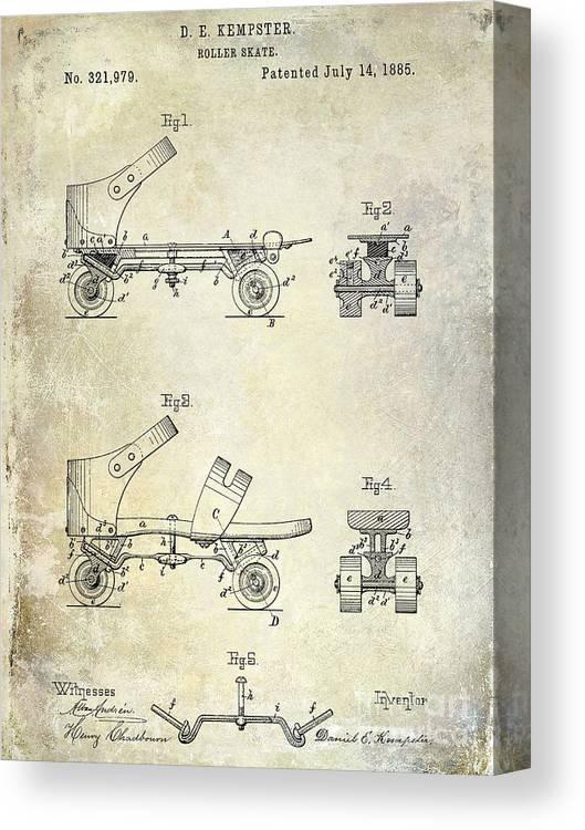 1885 Roller Skate Patent Drawing Canvas Print featuring the drawing 1885 Roller Skate Patent Drawing by Jon Neidert