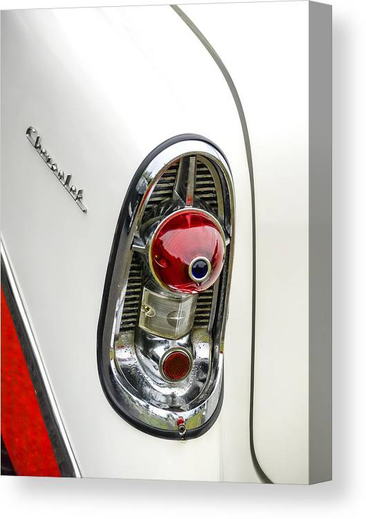 1956 Canvas Print featuring the photograph 1956 Chevy Taillight by Carol Leigh
