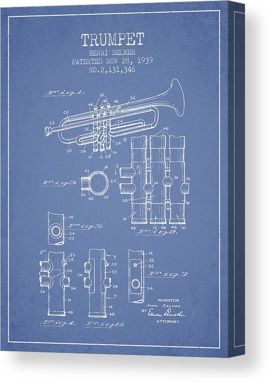Trumpet Canvas Print featuring the digital art Trumpet Patent From 1939 - Light Blue by Aged Pixel