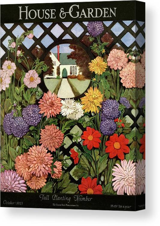 Illustration Canvas Print featuring the photograph A House And Garden Cover Of Flowers by Ethel Franklin Betts Baines