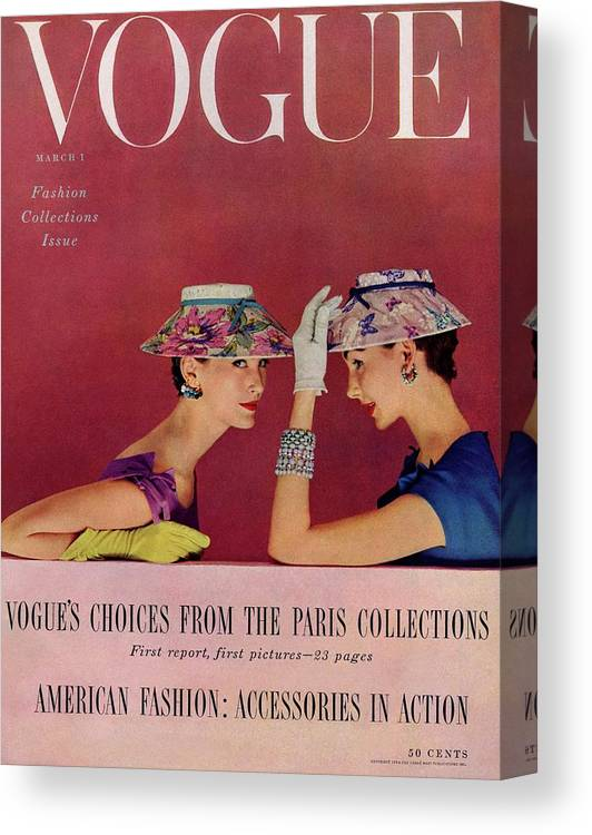 Fashion Canvas Print featuring the photograph A Vogue Cover Of Models Wearing Lilly Dache Hats by Richard Rutledge