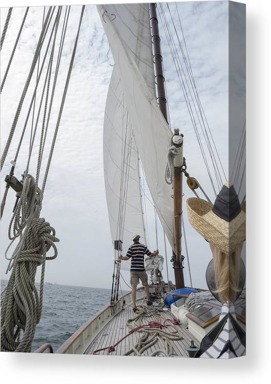 America Canvas Print featuring the photograph Aboard The Tyrone Opsail 2012 by Marianne Campolongo