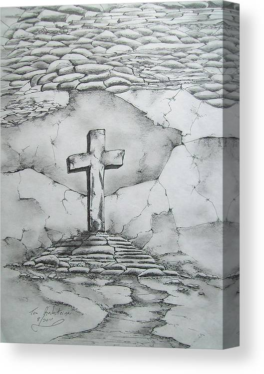Cross Canvas Print featuring the drawing Angels Are Here by Tom Rechsteiner