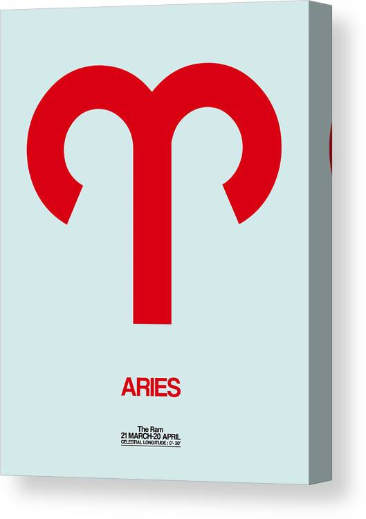 Aries Canvas Print featuring the digital art Aries Zodiac Sign Red by Naxart Studio