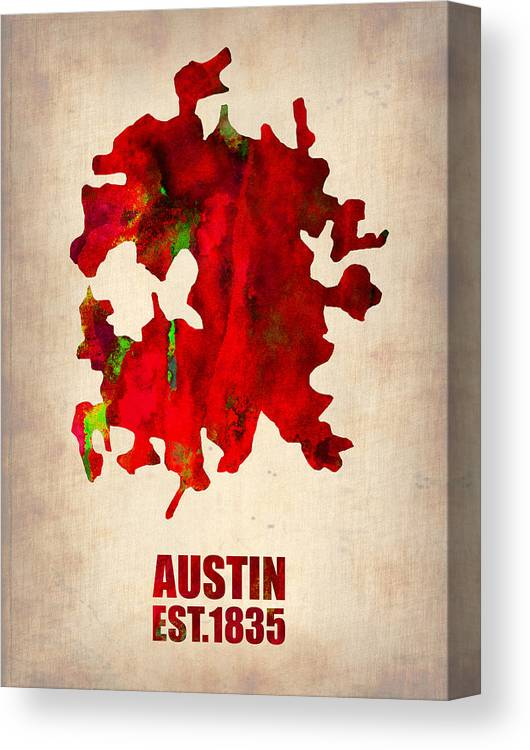 Austin Canvas Print featuring the painting Austin Watercolor Map by Naxart Studio