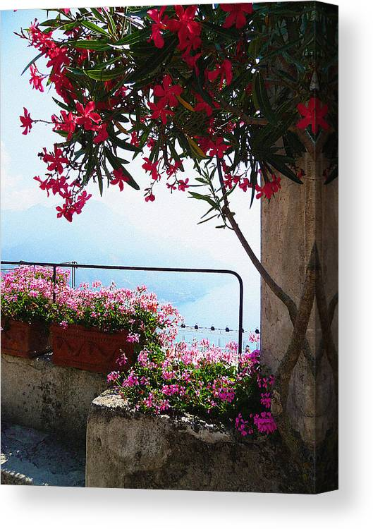 Italy Canvas Print featuring the photograph Beautiful Flowers Of Ravello Italy by Irina Sztukowski