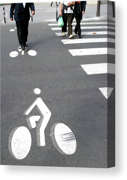 Pedestrian Crossing Canvas Print featuring the photograph Bicycle Lane by Aj Photo/science Photo Library