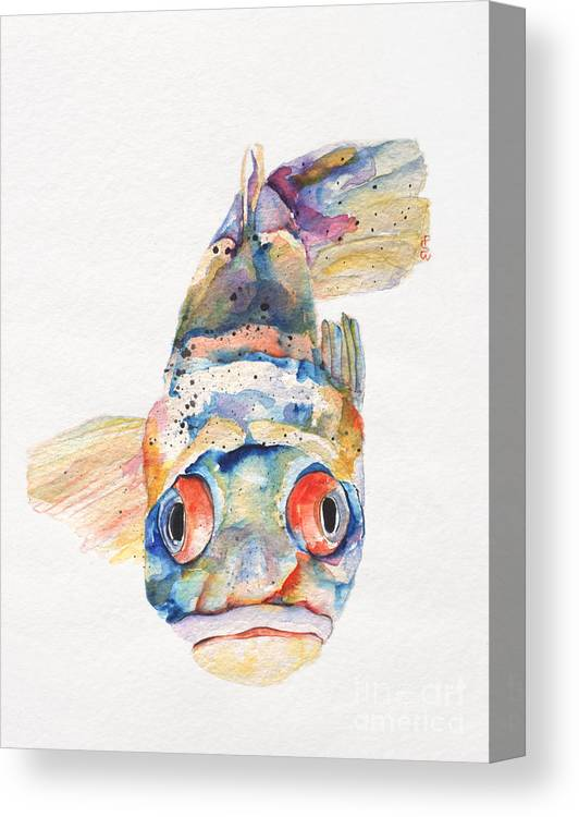 Pat Saunders-white Canvas Print featuring the painting Blue Fish  by Pat Saunders-White