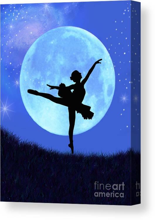 Ballet Canvas Print featuring the digital art Blue Moon Ballerina by Alixandra Mullins