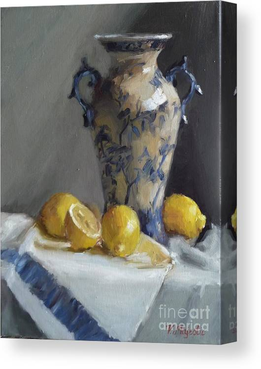 Blue Canvas Print featuring the painting Blue Vase And Lemons by Viktoria K Majestic