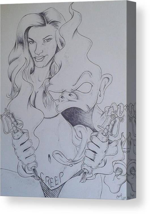 Woman Demon Tattoo Machine Canvas Print featuring the drawing Branding His Own by Jeffrey Lamey