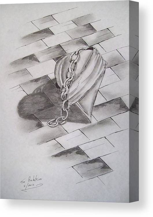 Heart Canvas Print featuring the drawing Broken Heart by Tom Rechsteiner