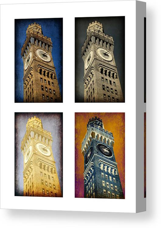 Baltimore Canvas Print featuring the photograph Bromo Seltzer Tower Quad by Stephen Stookey