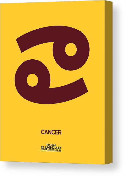Cancer Canvas Print featuring the digital art Cancer Zodiac Sign Brown by Naxart Studio