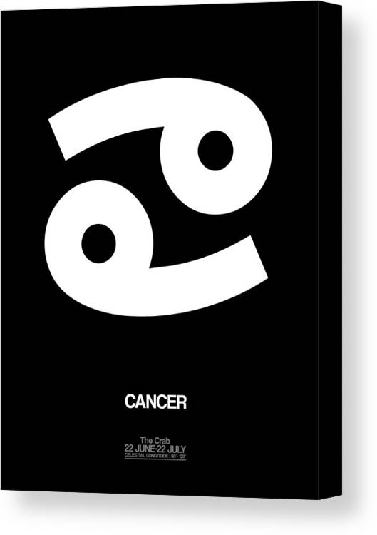 Cancer Canvas Print featuring the digital art Cancer Zodiac Sign White by Naxart Studio