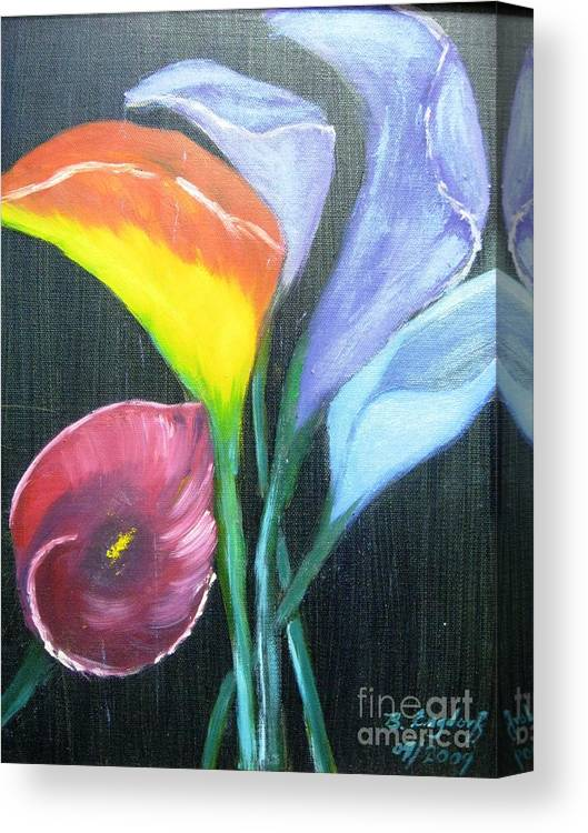 Flowers Canvas Print featuring the painting Colors Of Calla Lillies by Betty and Kathy Engdorf and Bosarge