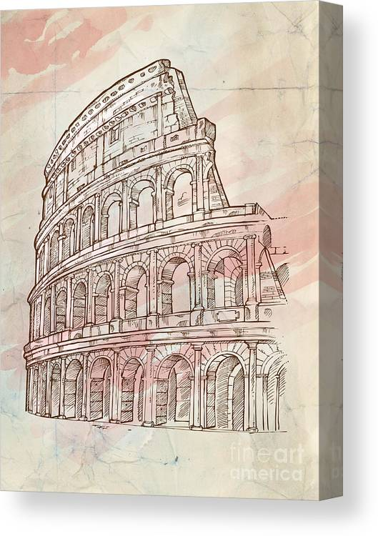Colosseum Canvas Print featuring the drawing Colosseum Hand Draw by Domenico Condello