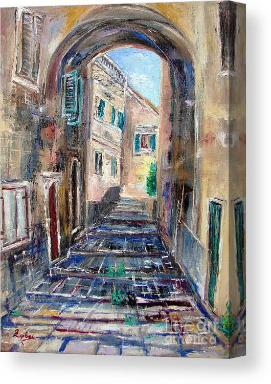 Corfu Town Canvas Print featuring the painting Corfu The Old Town . by Xanthie Zervou