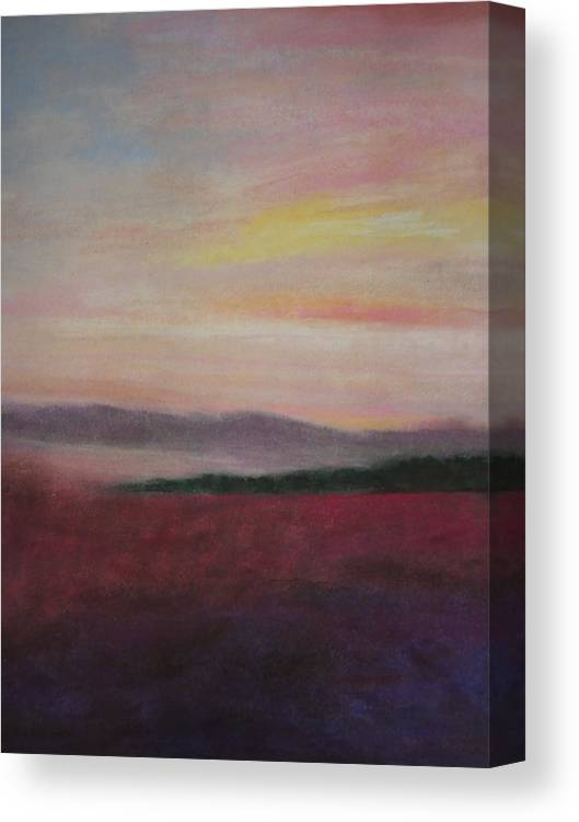 Dawn Canvas Print featuring the pastel Country Dawn by Renee Poblacion