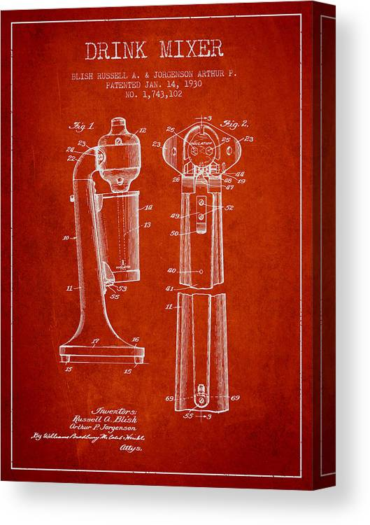 Cocktail Shaker Canvas Print featuring the digital art Drink Mixer Patent From 1930 - Red by Aged Pixel