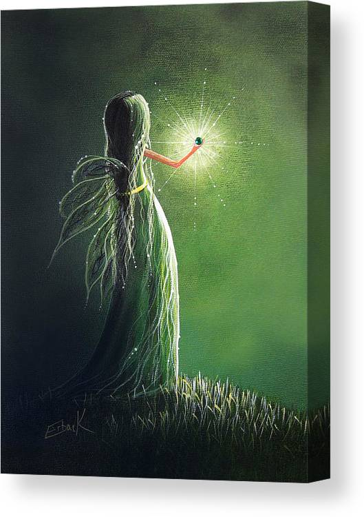 Fairy Art Canvas Print featuring the painting Emerald Fairy By Shawna Erback by Erback Art