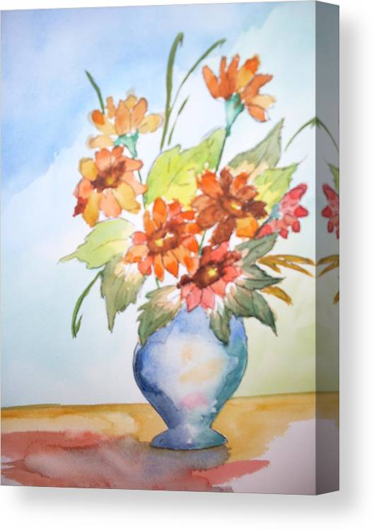 Floral Still Life Canvas Print featuring the painting Fall Bouquet by Warren Thompson