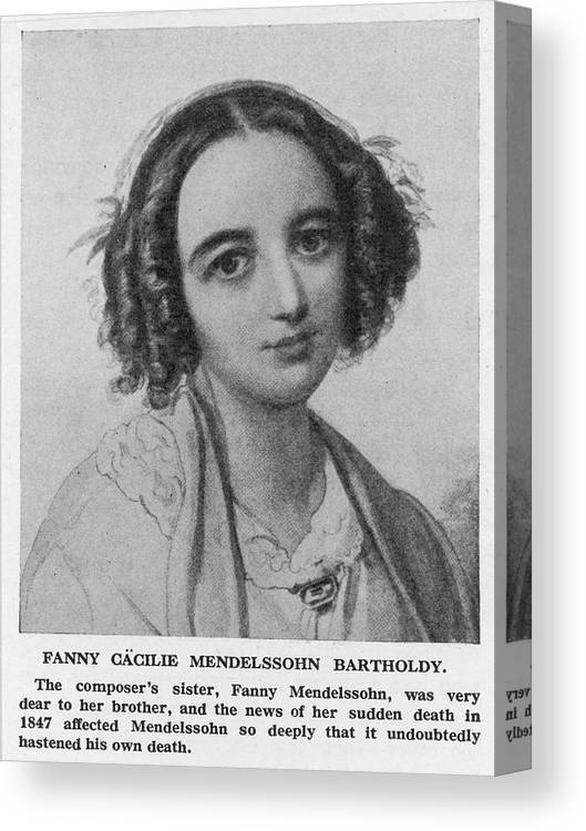 Fanny Canvas Print featuring the drawing Fanny Caecilie Mendelssohn Sister by Mary Evans Picture Library
