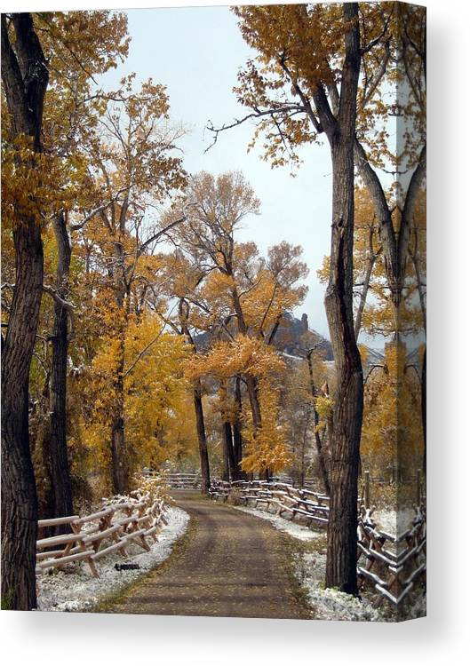 Autumn Canvas Print featuring the photograph First Snow by Jim Romo
