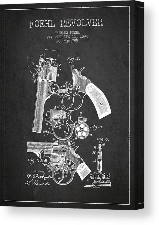 Pistol Canvas Print featuring the digital art Foehl Revolver Patent Drawing From 1894 - Dark by Aged Pixel