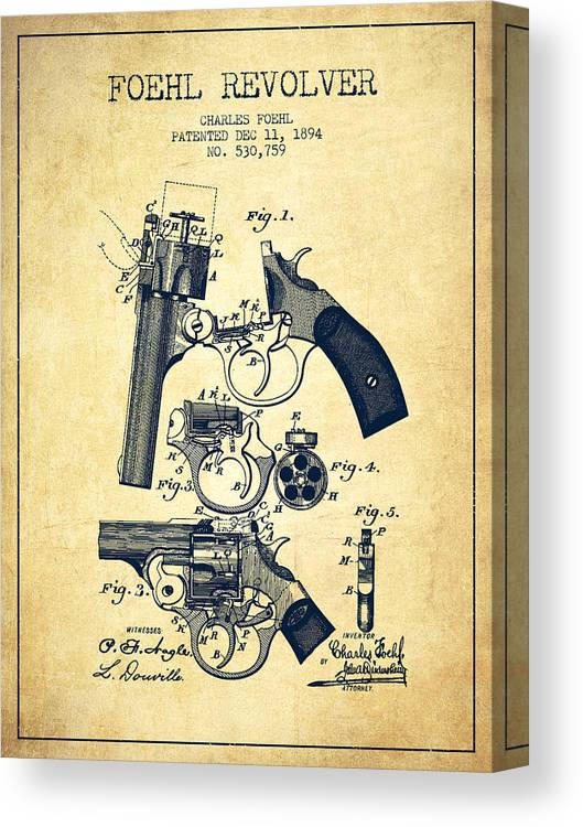 Pistol Canvas Print featuring the digital art Foehl Revolver Patent Drawing From 1894 - Vintage by Aged Pixel