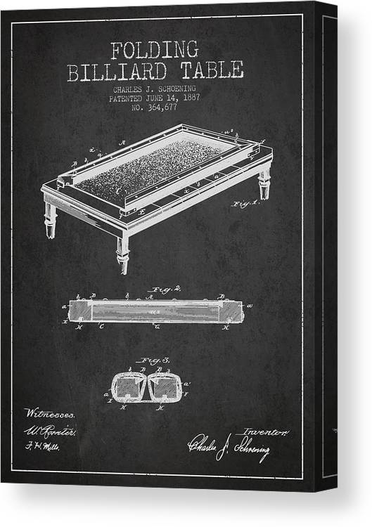 Billiard Table Canvas Print featuring the digital art Folding Billiard Table Patent From 1887 - Charcoal by Aged Pixel