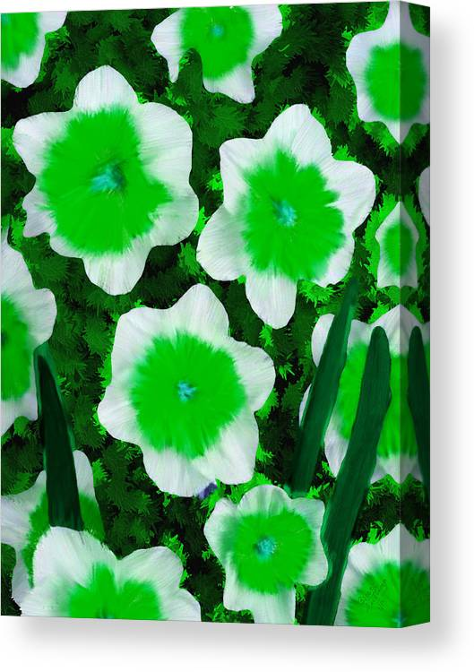 Green Canvas Print featuring the painting Greem Narcisse Riot Flower by Bruce Nutting