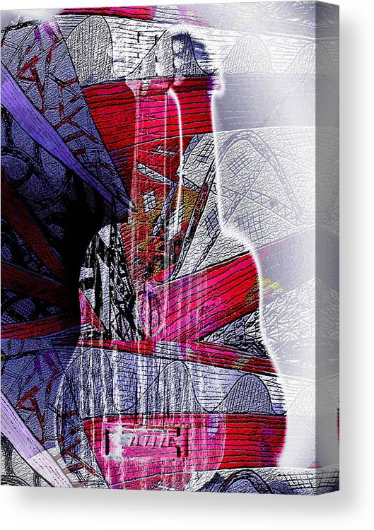 Guitar Abstract Canvas Print featuring the mixed media Music Box Guitar by Linda Francis